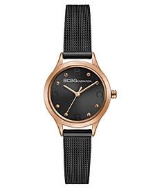 Ladies Black Dial Black Mesh Bracelet Watch with Rose Gold Case