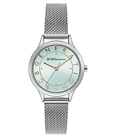 Ladies Silver Mesh Bracelet Watch with Rose Gold Accents