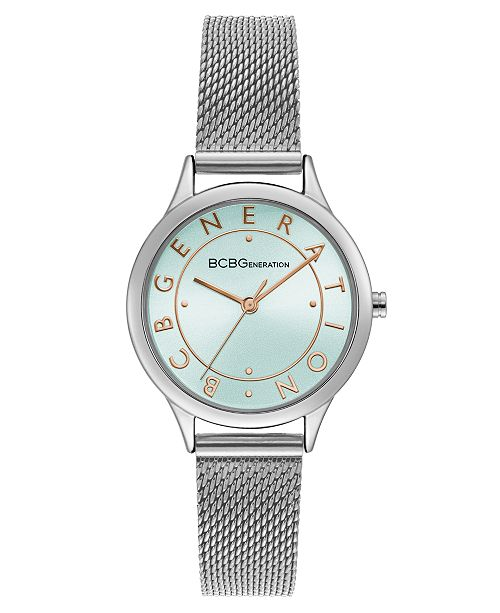 BCBGeneration Ladies Silver Mesh Bracelet Watch with Rose Gold Accents