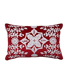 Snowflakes And Berries Lumbar Pillow