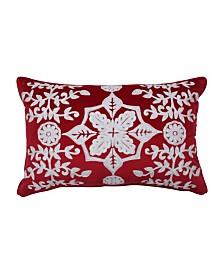 Pillow Perfect Snowflakes And Berries Lumbar Pillow
