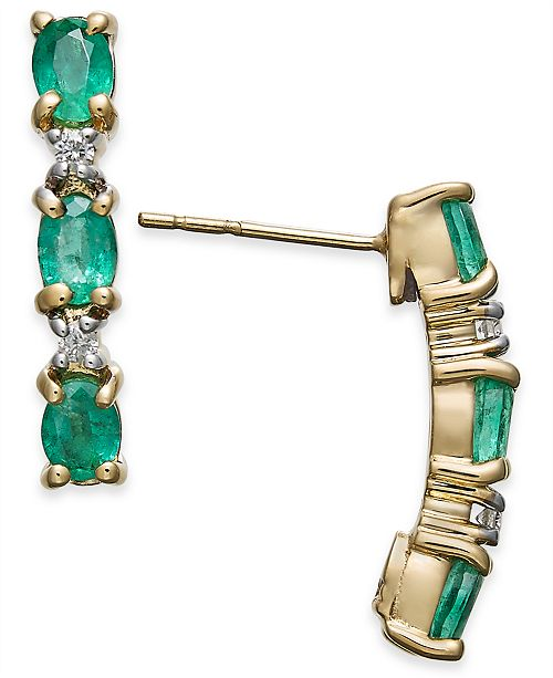 Macy's Emerald (1-1/5 ct. t.w.) & Diamond Accent Curved Bar Stud Earrings in 14k Gold