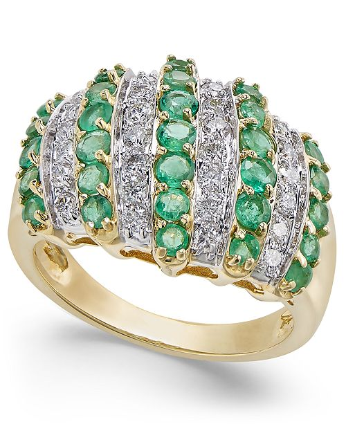 Macy's Emerald (1-3/4 ct. t.w.) & Diamond (1/2 ct. t.w.) Statement Ring in 14k Gold
