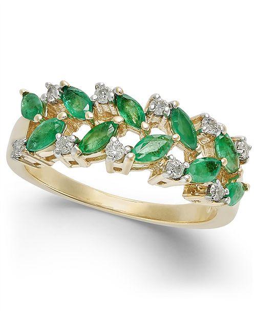 Macy's Emerald (1 ct. t.w.) & Diamond (1/6 ct. t.w.) Statement Ring in 14k Gold