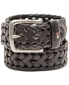 Tommy Hilfiger Men's Faux-Leather Braided Casual Belt