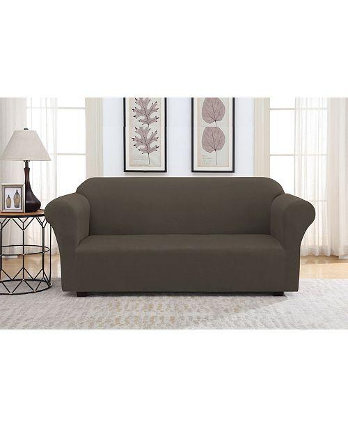 Harper Lane Solid Slipcover Suede Sofa