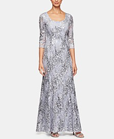 Sequinned-Lace Illusion-Sleeve Gown