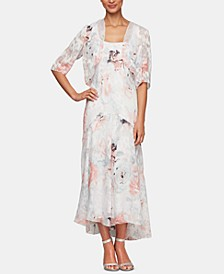 Bolero Jacket & Floral-Print Tea-Length Dress