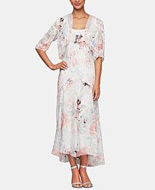 Alex Evenings Bolero Jacket & Floral-Print Tea-Length Dress