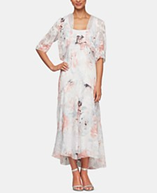Alex Evenings Bolero Jacket & Floral-Print Tea-Length Dress