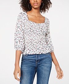 Crave Fame Juniors' Printed Smocked 3/4-Sleeve Top