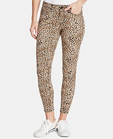 Animal-Print Ankle Skinny Jeans