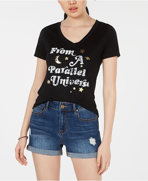 Modern Lux Jerry Leigh Juniors' Parallel Universe Foil Graphic T-Shirt