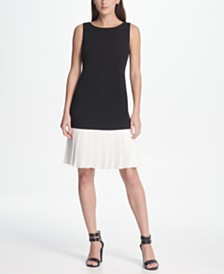 DKNY Pleated Flounce Hem Dress