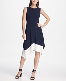 DKNY Colorblock Handkerchief Hem Dress