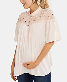 Jessica Simpson Maternity Mock-Neck Blouse