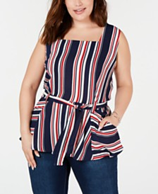 Monteau Trendy Plus Size Striped Tie-Waist Top