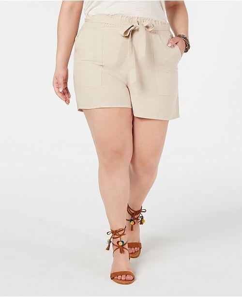 Planet Gold Trendy Plus Size Cotton Paperbag Shorts