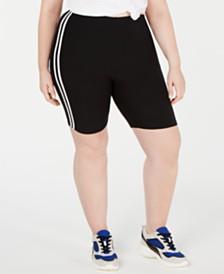 Planet Gold Trendy Plus Size Striped Bike Shorts