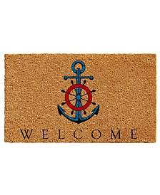 "Ships Anchor Welcome 17"" x 29"" Coir/Vinyl Doormat"