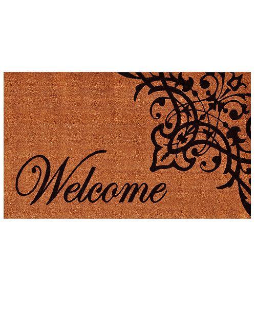 """Home & More Scroll Welcome 17"""" x 29"""" Coir/Vinyl Doormat"""
