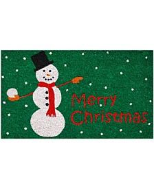 "Christmas Snowman 17"" x 29"" Coir/Vinyl Doormat"