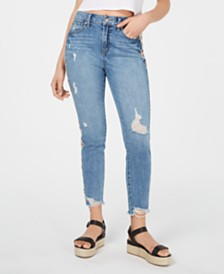 Rewash Juniors' Embroidered Ripped Skinny Jeans