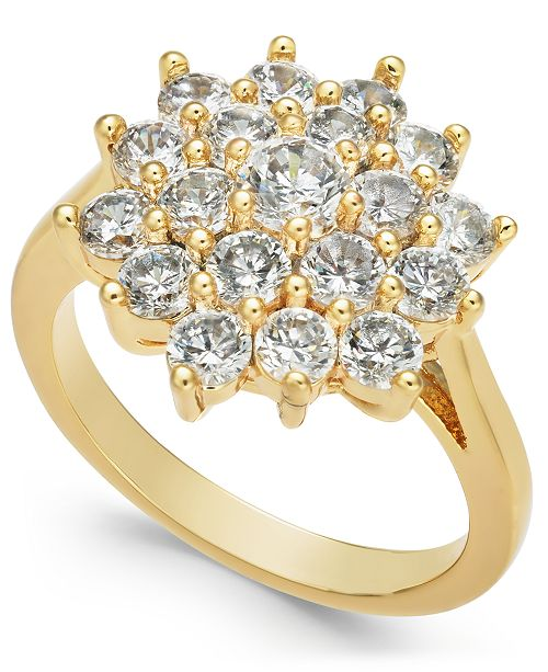 Charter Club Gold-Tone Crystal Cluster Burst Ring, Created for Macy's