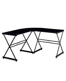 Techni Mobili L-Shaped Glass Computer Desk, Quick Ship