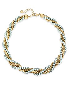 """Gold-Tone & Imitation Pearl Twisted Multi-Strand Necklace, 17"""" + 2"""" extender, Created for Macy's"""