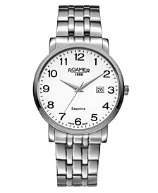 Men's 3 Hands Date 40 mm Dress Watch in Stainless Steel Case and Bracelet