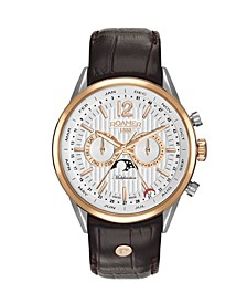 Men's 3 Hands Moonphase 43 mm Dress Watch in Two Tone Steel Case on Strap