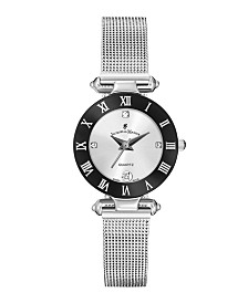 Jacques Du Manoir Ladies' Silver Stainless Steel Mesh with Stainless Steel Case with Black Bezel and Silver Dial, 26mm