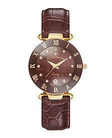 Jacques Du Manoir Ladies' Brown Dark Genuine Leather Strap with Goldtone Case and Brown Dial with Diamond Markers, 33mm