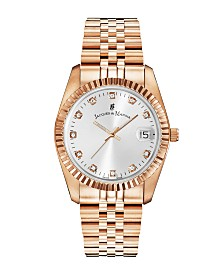 Jacques Du Manoir Ladies' Rose Gold Stainless Steel Bracelet with Rose Goldtone Case and Mother of Pearl Dial and Diamond Markers, 36mm
