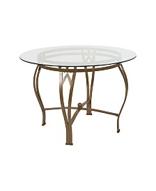 "Offex 42"" Round Glass Dining Table with Metal Frame"