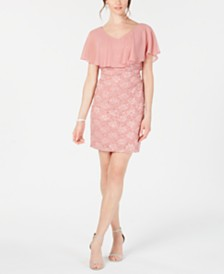 Connected Petite Chiffon-Overlay Lace Sheath Dress