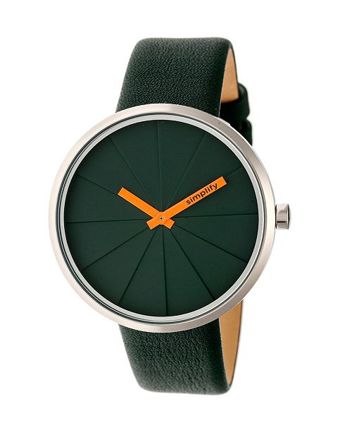 Simplify Quartz The 4000 Genuine Forest Green Leather Watch 43mm