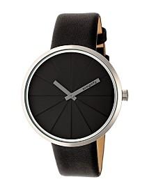 Simplify Quartz The 4000 Genuine Black Leather Watch 43mm