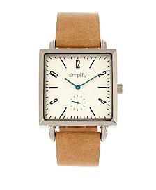 Simplify Quartz The 5000 White Dial, Genuine Khaki Leather Watch 38mm