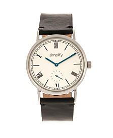 Quartz The 5100 White Dial, Genuine Black Leather Watch 40mm