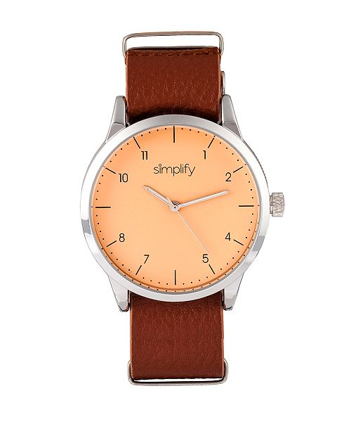 Simplify Quartz The 5600 Nude Dial, Genuine Light Brown Leather Watch 40mm