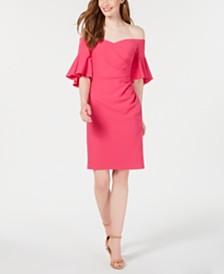 Calvin Klein Off-The-Shoulder Ruched Sheath Dress