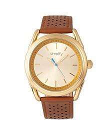 Quartz The 5900 Gold Case, Genuine Camel Leather Watch 43mm