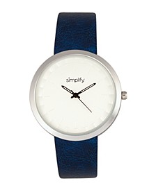 Quartz The 6000 Silver Case, Blue Leatherette Watch 43mm