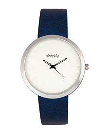 Simplify Quartz The 6000 Silver Case, Blue Leatherette Watch 43mm