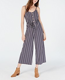 Juniors' Striped Cropped Wide-Leg Jumpsuit, Created for Macy's