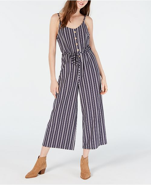American Rag Juniors' Striped Cropped Wide-Leg Jumpsuit, Created for Macy's