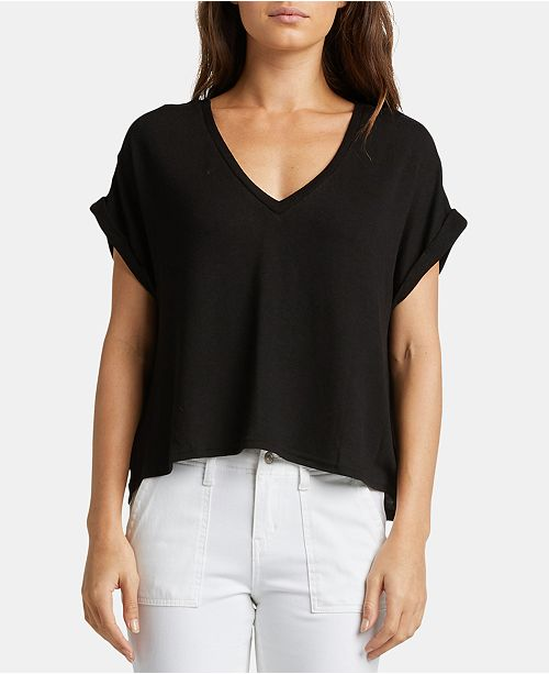 shirt en AngelicaTops V Noir col Silver Jeans Juniors T avec Co a JTl35F1uKc