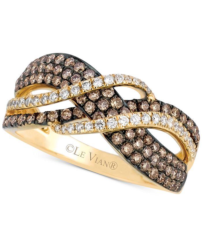 Le Vian - Chocolate Diamond (5/8 ct. t.w.) & Vanilla Diamond (1/5 ct. t.w.) Statement Ring in 14k Gold